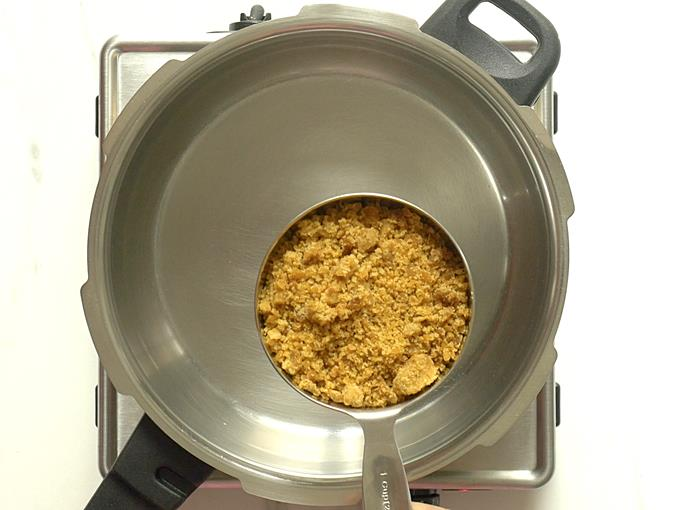 grate jaggery for syrup to make chikki recipe