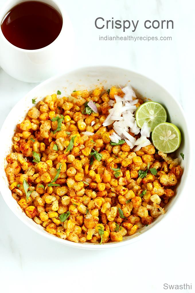 crispy corn is a snack made with crisp fried sweet corn kernels. It is spiced & is usually eaten as a snack #crispycorn #corn #sweetcorn #cornrecipe