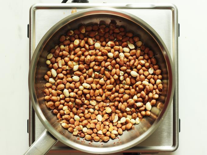 Dry roast peanuts