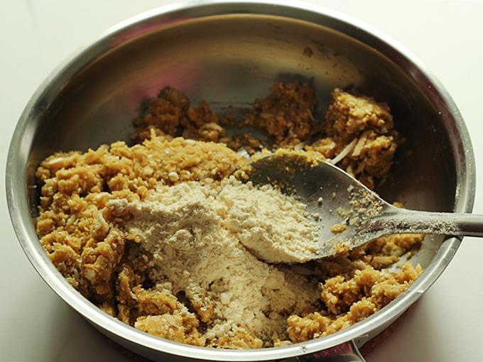 add the fried gram flour