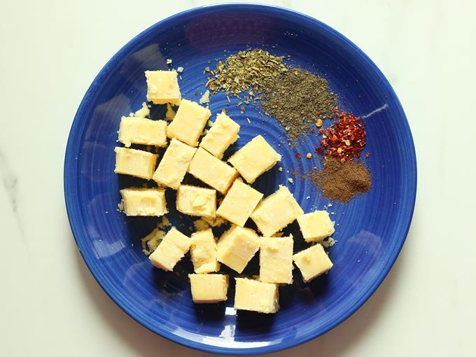 cubed cheese to make cheese ball recipe