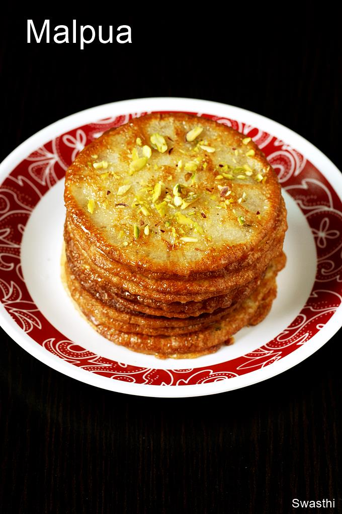 Malpua recipe - Malpua are sweet pancakes from India made with flour, ghee, milk and sugar. #malpua #malpuarecipe #diwali