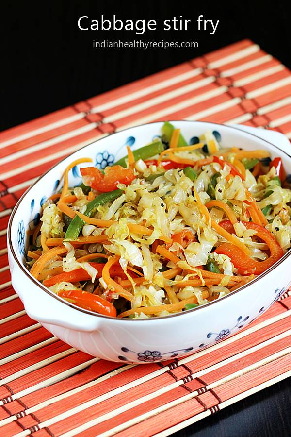 Cabbage Stir Fry Chinese Style Stir Fried Cabbage Swasthi S Recipes