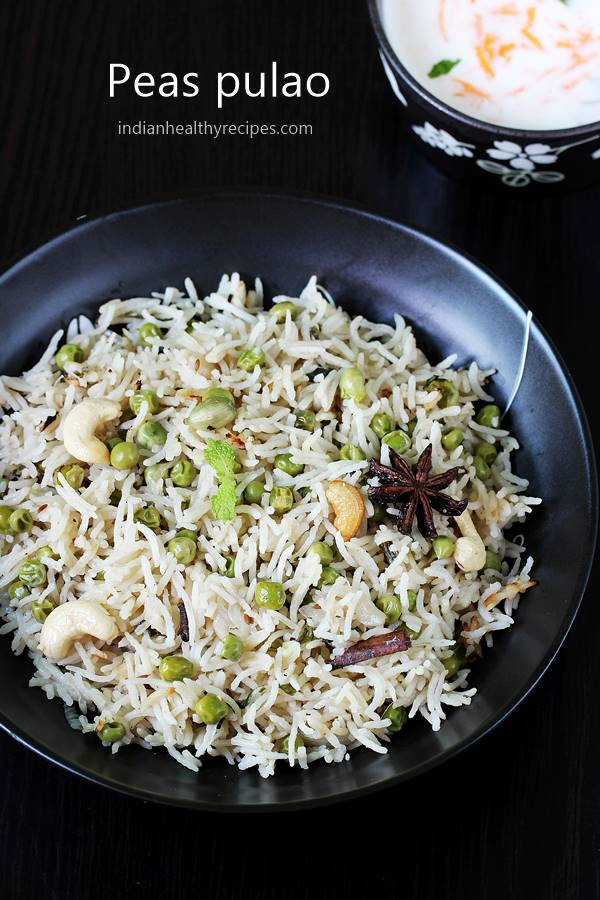 peas pulao or matar pulao is a one pot flavorful rice dish made of spices, basmati rice, green peas & herbs. Super quick to make & tastes delicious! #peaspulao #matarpulao