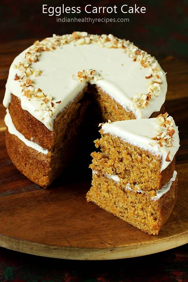 Stupendous Eggless Carrot Cake Recipe Swasthis Recipes Personalised Birthday Cards Arneslily Jamesorg