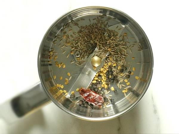roasting spices to make rasam powder