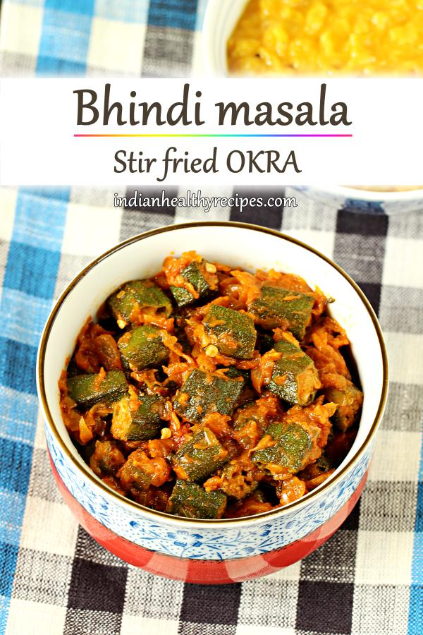 Bhindi masala is a healthy delicious dish made of stir fried okra in onion tomato masala. Serve okra with rice or roti. #bhindi #bhindimasala #bhindirecipe #okra #vegetarian #indianfood