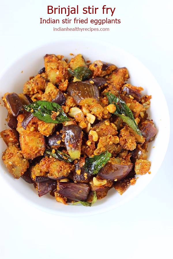 Brinjal fry is a simple delicious dish of eggplants made in andhra style. Serve brinjal fry with rice, roti or just as a side with a meal. #brinjalfry #brinjalfryrecipe