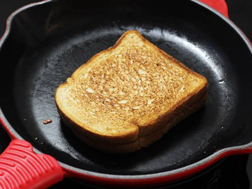 Halve the grilled cheese sandwich