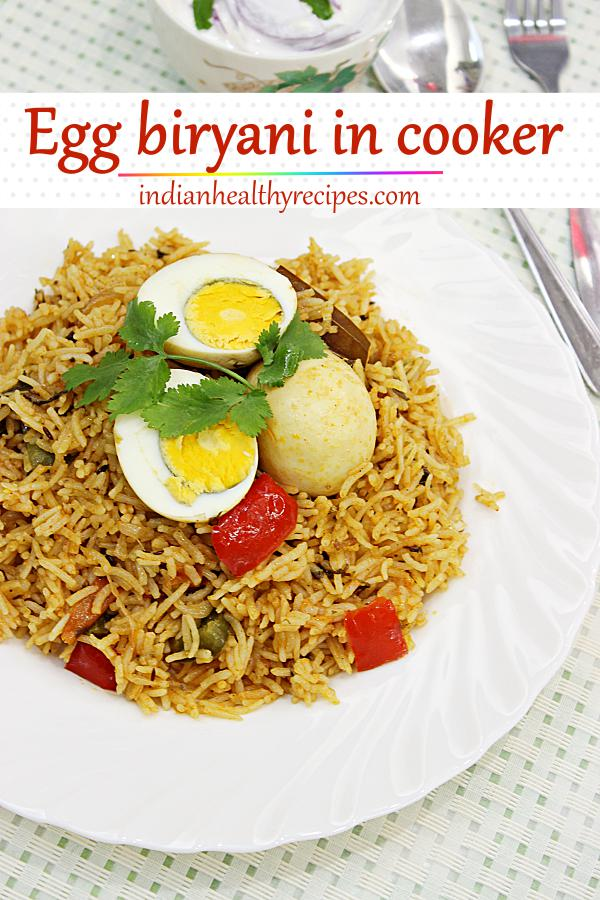 egg biryani is a one pot rice dish that can be made in a jiffy for quick dinner. It is made with rice, spices, herbs & eggs. #eggbiryani #egg #biryani #indianfood #dinner
