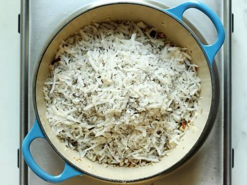 frying coconut in ghee