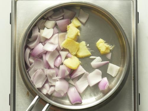 frying onions ginger to make allam chutney