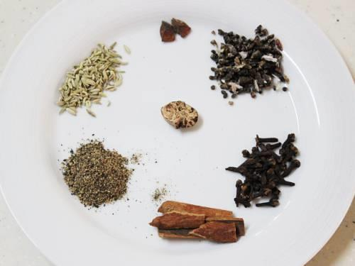 spices used to make masala chai powder