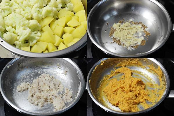 preparation for aloo gobi masala step 1