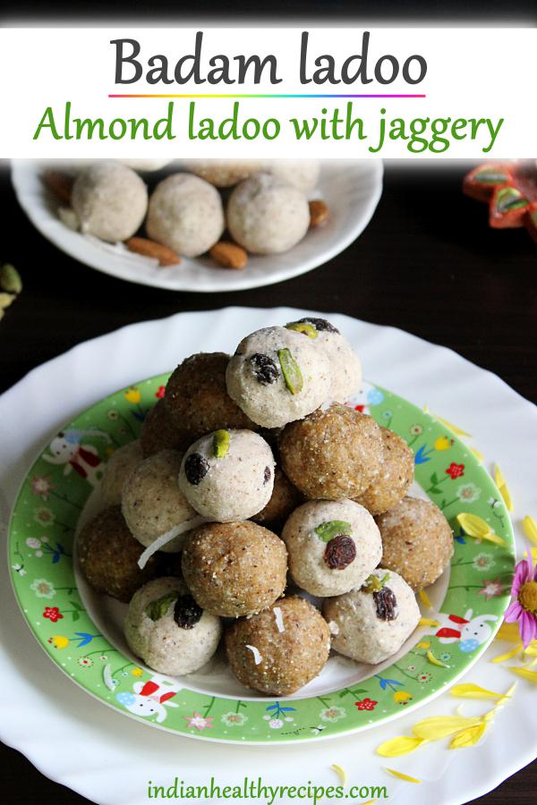 Badam ladoo or almond laddu are sweetened balls made of roasted almonds, jaggery & cardamoms. These protein rich balls are great to snack #badamladoo #almondladoo