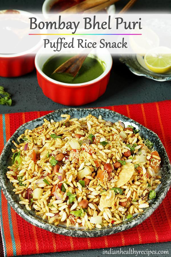 Bhel puri is a popular sweet sour & spicy chaat snack made with puffed rice, veggies & chaat chutneys. #bhelpuri #india #streetfood