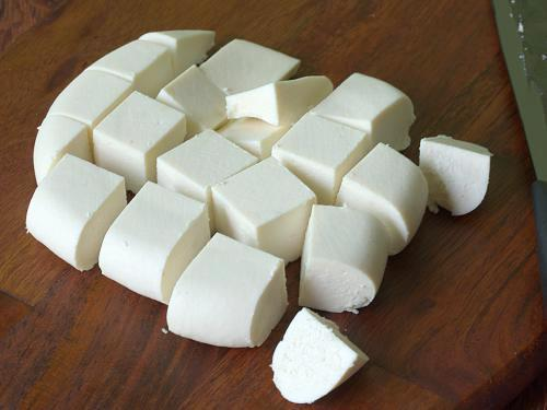slice the paneer to cubes
