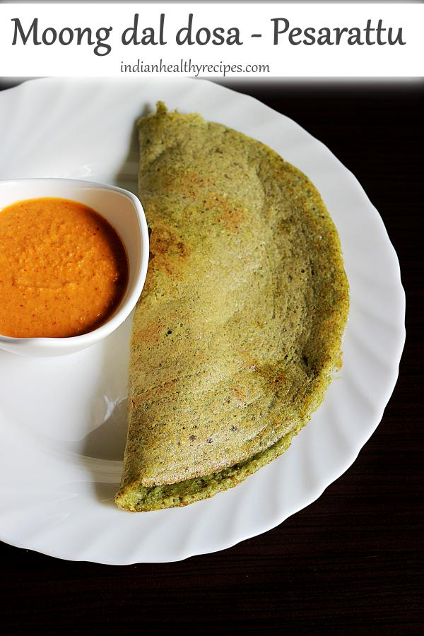 pesarattu or moong dal dosa is a popular andhra breakfast made with moong lentils or mung beans. These healthy, protein packed dosas are super delicious & are eaten with chutney. #pesarattu #moongdaldosa