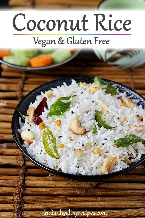coconut rice is a simple dish made by tempering fresh coconut & rice with spices. Make it for a quick dinner with some curry. #coconutrice #coconutricerecipe