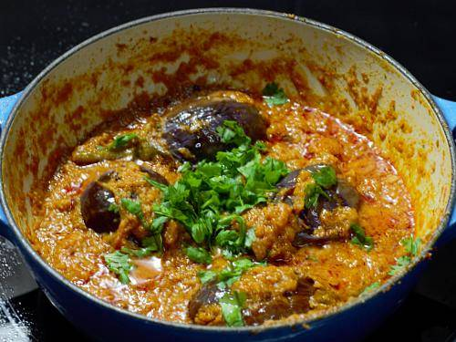 thick eggplant curry in a kadai
