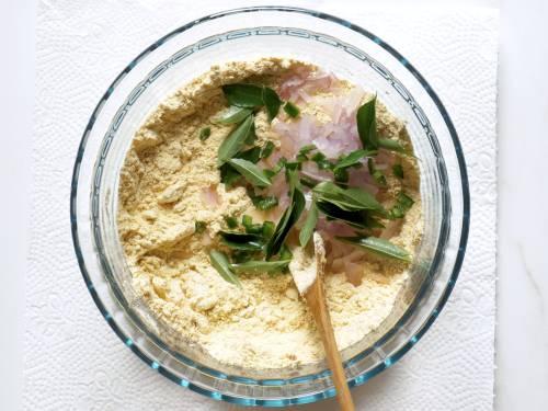 herbs and onions to make chicken pakora