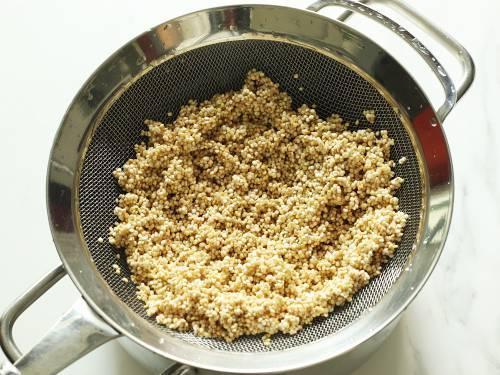 drained quinoa