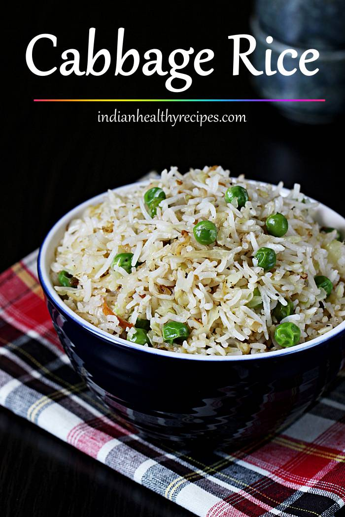 Cabbage rice - Healthy, delicious, flavorful & quick to make cabbage rice. #cabbagerice #cabbagefriedrice