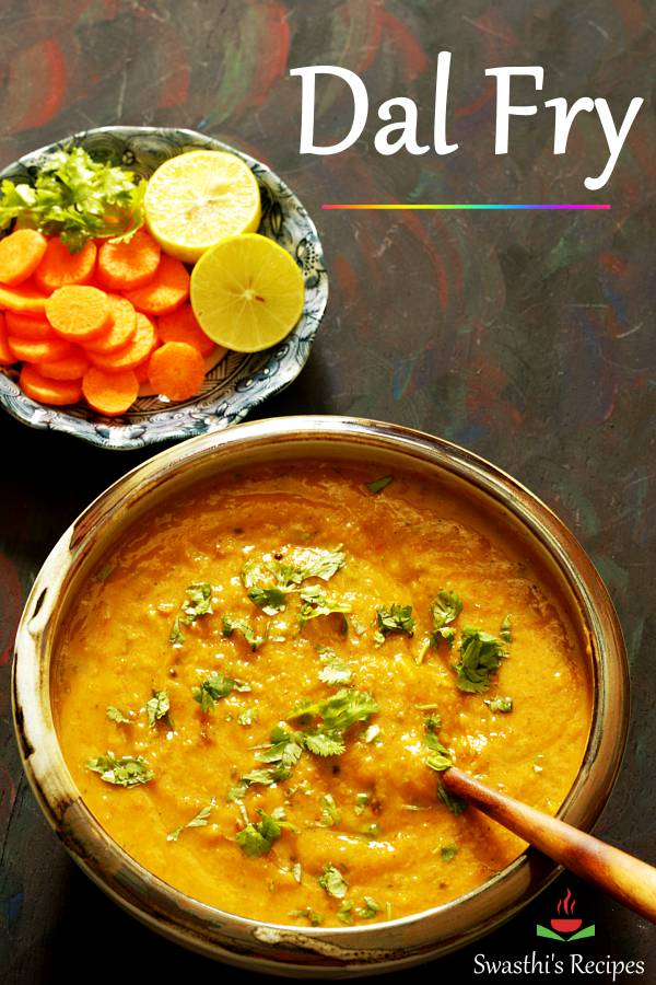 Dal fry is a simple Indian dish made with lentils aka dal and spices. This simple yet comforting dish is protein packed and tastes delicious. #indian #curry #dalfry #dal #dalrecipe