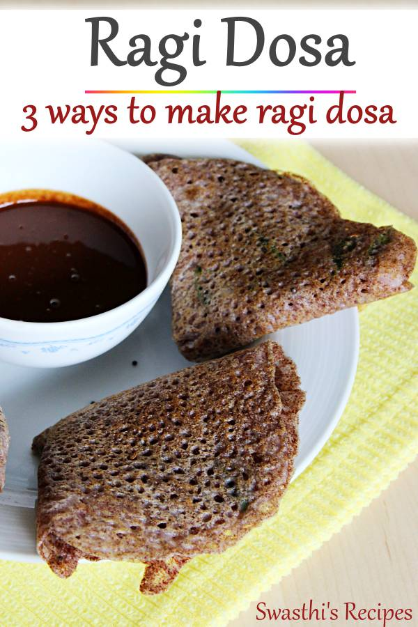 Ragi dosa is a healthy breakfast made with finger millet flour, spices & herbs. 3 simple methods to make ragi dosa. #ragidosa #ragidosarecipe #ragi #dosa
