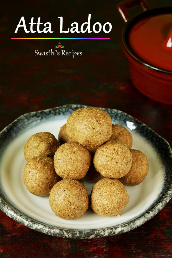 Atta ladoo are delicious sweet balls made with whole wheat flour, sweetener and ghee. #attaladoo