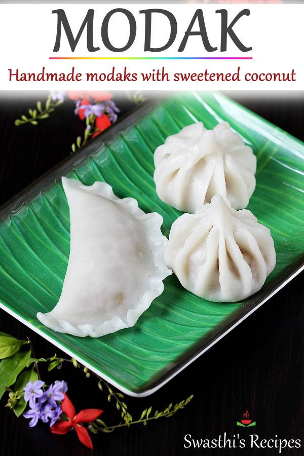 Modak are steamed dumplings made with rice flour, coconut & jaggery. This detailed post will help you make awesome modaks at home without a mould. #modak #modakrecipe #ganeshchaturthi #ganesha
