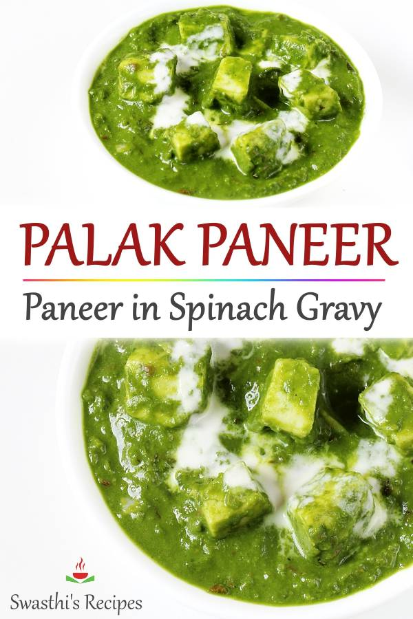 Make the best palak paneer at home! Delicious, creamy & healthy restaurant style paneer in spinach gravy. #paneer #palakpaneer #paneerrecipe #palakpaneerrecipe