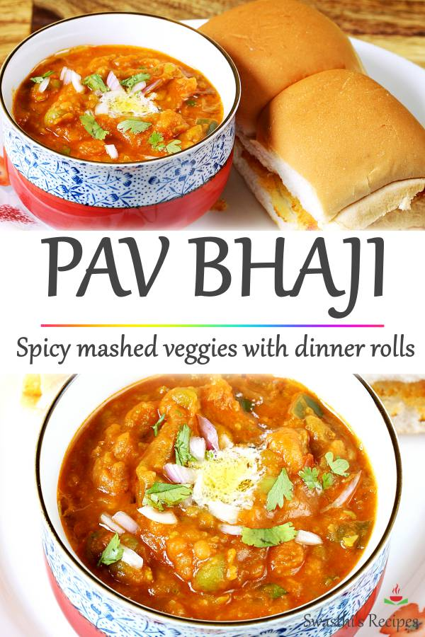 Pav bhaji is a delicious spicy veggie mash (bhaji) served with soft butter toasted dinner rolls known as pav. Topped with a generous amount of butter, onions and herbs! #pavbhaji #pavbhajirecipe #streetfood #pav #bhaji