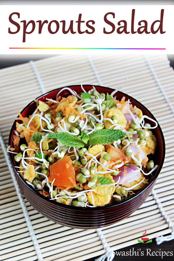 Sprouts salad is a delicious, healthy, protein packed & super quick salad to make. Veggies, herbs & lemon juice are great in this breakfast salad. #sproutssalad #sproutssaladrecipe