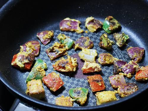 grilling veggies for paneer tikka masala