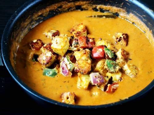 grilled ingredients in paneer tikka masala gravy