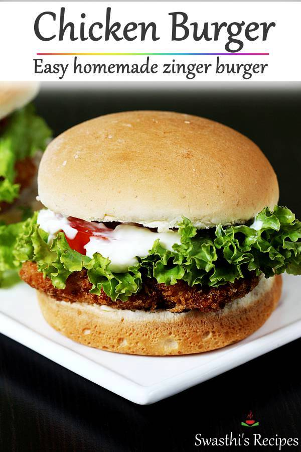 Homemade chicken burger with crisp fried breaded chicken. #chickenburger #chickenburgerrecipe #zingerburger