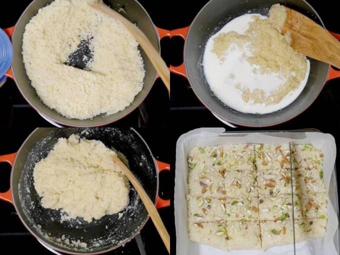 adding mawa milk and coconut to make mawa coconut burfi