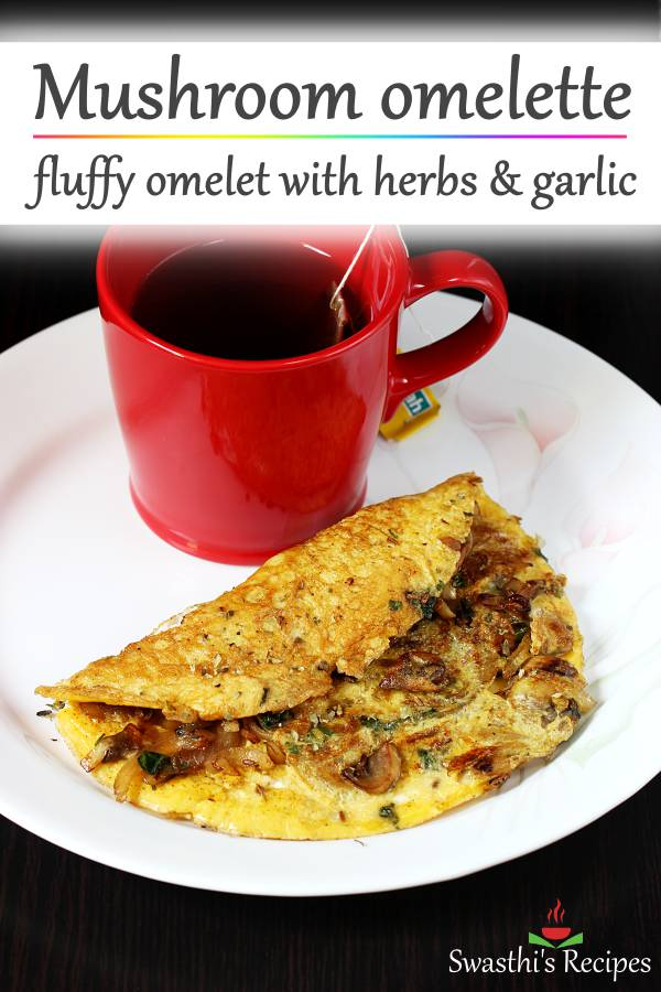 mushroom omelette made delicious with garlic, herbs and spices. #mushroomomelette
