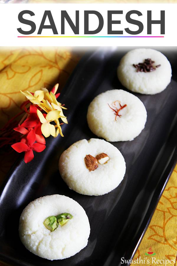 Sandesh is a delicious dessert made with chenna (milk solids) & sugar. #sandesh #sandeshrecipe #sondesh