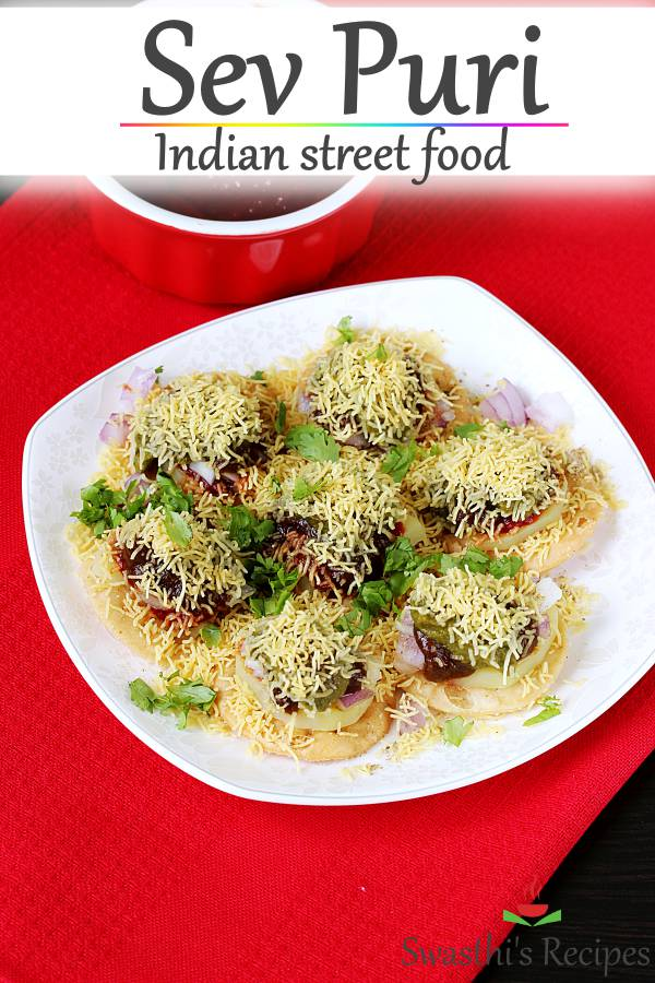 Sev puri is a popular Indian street food made with boiled potatoes, garlic chutney, tamarind chutney and sev. #sevpuri #sevpurirecipe