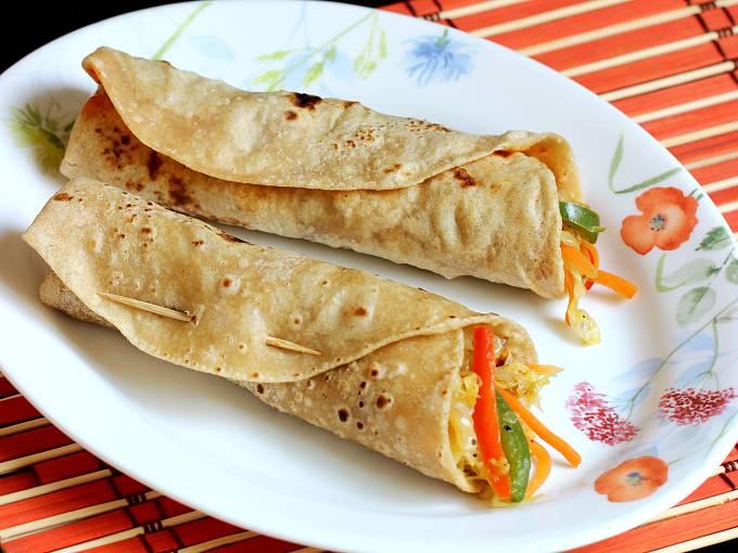 Veg roll recipe (vegetable chapati rolls) - Swasthi's Recipes