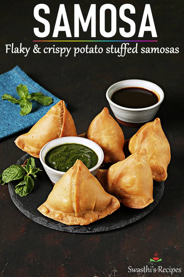 Learn to make perfect crunchy, flaky and delicious samosa at home! Stuffed with spiced potatoes these are full of flavors & delish. #samosa #samosarecipe