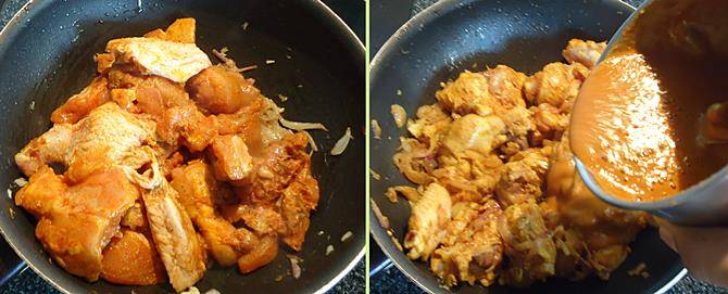 adding ground masala for kerala chicken