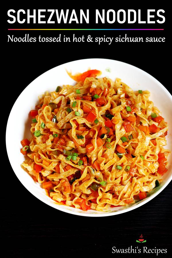 spicy veg schezwan noodles in a plate