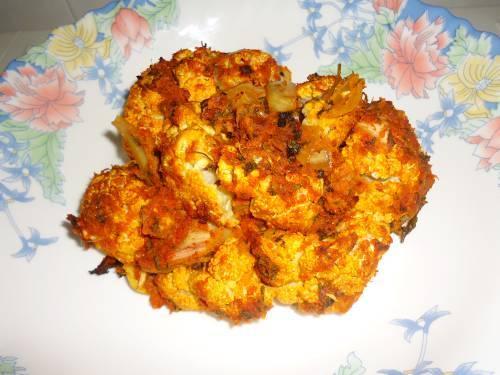 oven grilled tandoori gobi in a plate