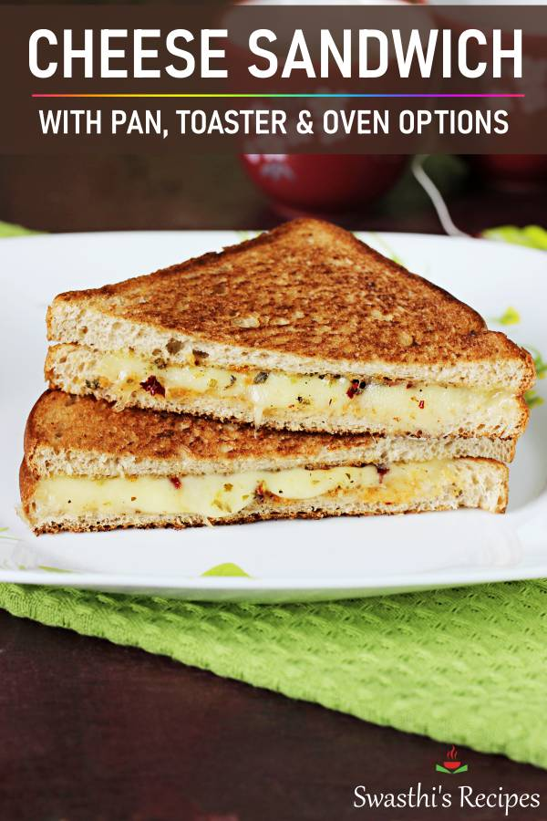 These cheese sandwiches make a super yummy & quick breakfast. Learn to make grilled cheese sandwiches with lots of tips & tricks to make them perfect! Recipe with 3 grilling options - pan, toaster & oven #sandwich #breakfast #cheese #cheesesandwich