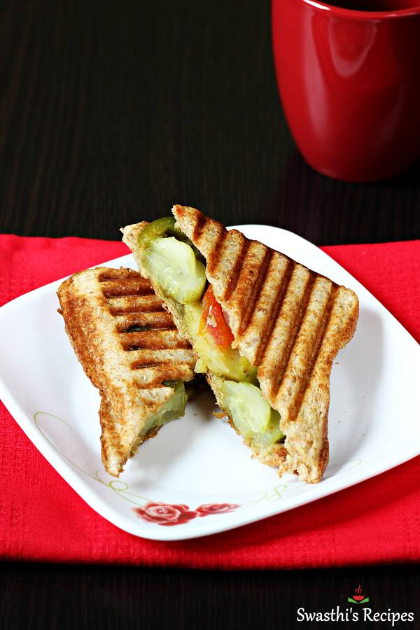 Veg Grilled Sandwich Recipe Swasthi S Recipes