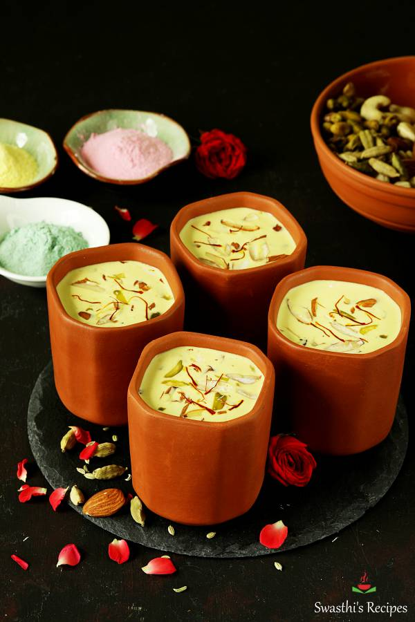 thandai served in clay cups for holi