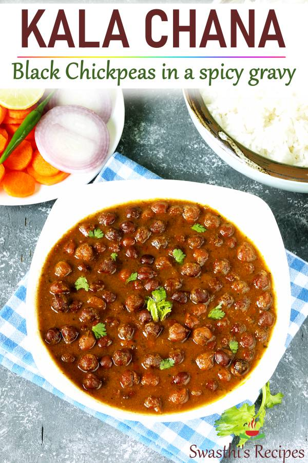 kala chana black chickpeas curry in a white bowl